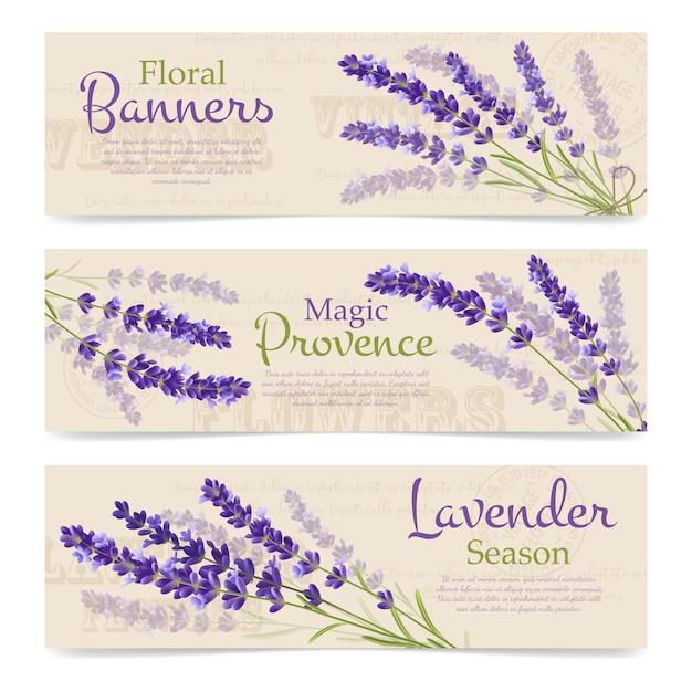 Lavendel realistische banner vorlage Kostenlosen Vektoren