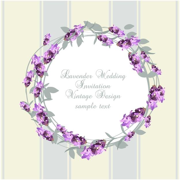 Lavendelhochzeitseinladungsentwurf Kostenlosen Vektoren