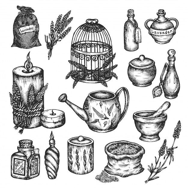 Lavendelsatz lokalisiert auf weißer hand gezeichneter illustration. Premium Vektoren