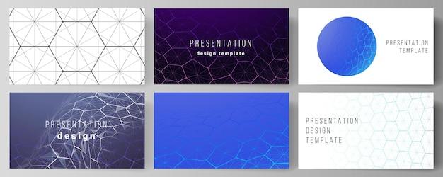 Layout der entwurfsvorlagen für präsentationsfolien. digitale technologie mit sechsecken, verbindungspunkten und linien. Premium Vektoren