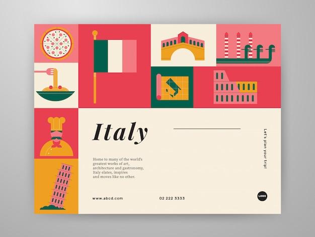 Layout der grafischen inhalte von italien-reisen Premium Vektoren
