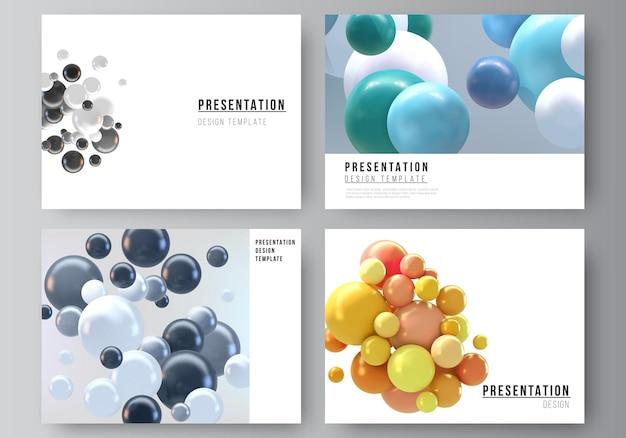 Layout der präsentationsfolien design business-vorlagen, mehrzweck-vorlage mit mehrfarbigen 3d-kugeln, blasen, kugeln. Premium Vektoren