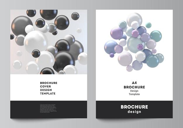 Layout von a4-cover-modellvorlagen für broschüre, flyer-layout, broschüre, cover-design, buch-design. abstrakter futuristischer hintergrund mit bunten 3d-kugeln, glänzenden blasen, kugeln. Premium Vektoren