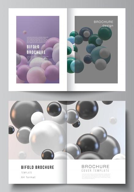 Layout von zwei a4-cover-modellvorlagen für bifold-broschüre, flyer, magazin, cover-design, buch-design. abstrakter futuristischer hintergrund mit bunten 3d-kugeln, glänzenden blasen, kugeln. Premium Vektoren