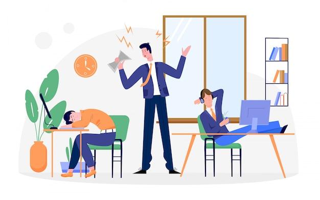Lazy geschäftsleute illustration, karikatur geschäftsmann charakter müde von routine büroarbeit, schlafen am schreibtisch auf weiß Premium Vektoren