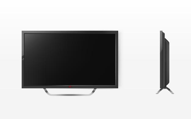 Lcd-bildschirm, mock-up von plasma-fernseher, modernes videosystem. hd-fernseher digitale technologie. Kostenlosen Vektoren