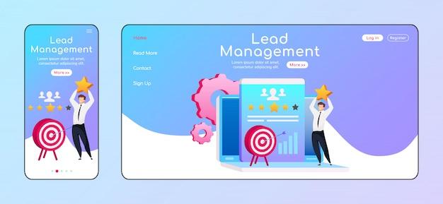 Lead management landing page Premium Vektoren