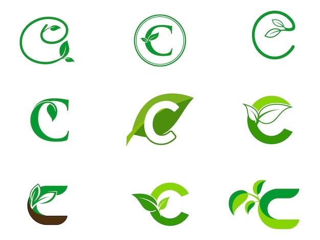 Leaf initialen c-logo-set Premium Vektoren