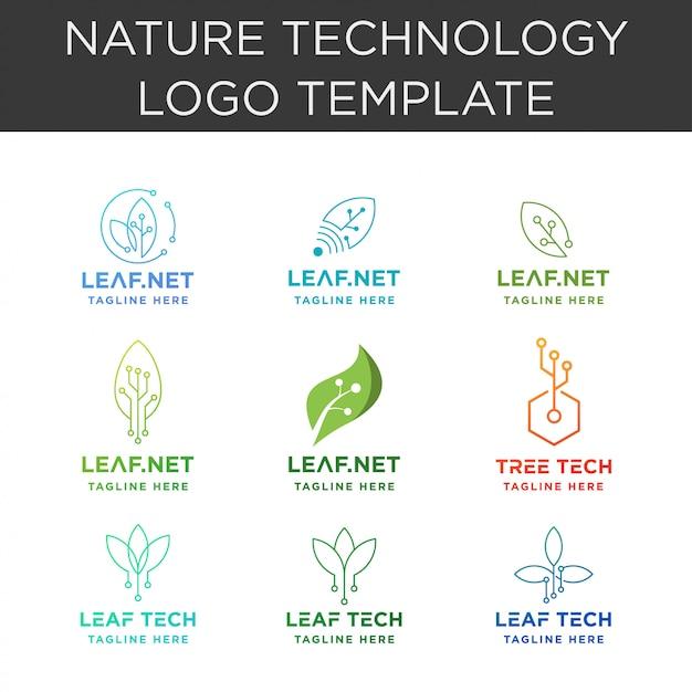 Leaf-technologie-logo-auflistung Premium Vektoren