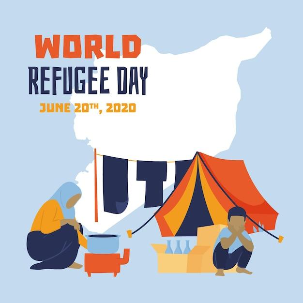 Leben im zelt handgezeichneten flüchtlingstag Kostenlosen Vektoren