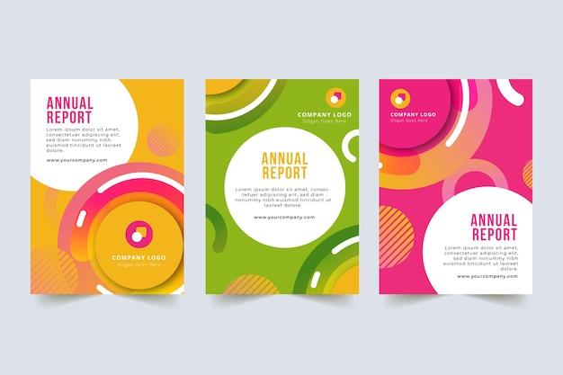 Lebendig-bonbonfarben-jahresberichtschablone Premium Vektoren