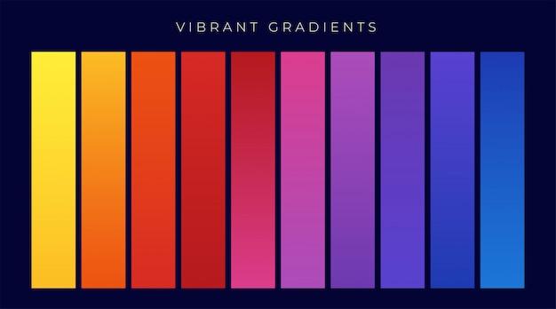 Lebendige bunte reihe von farbverläufen Kostenlosen Vektoren