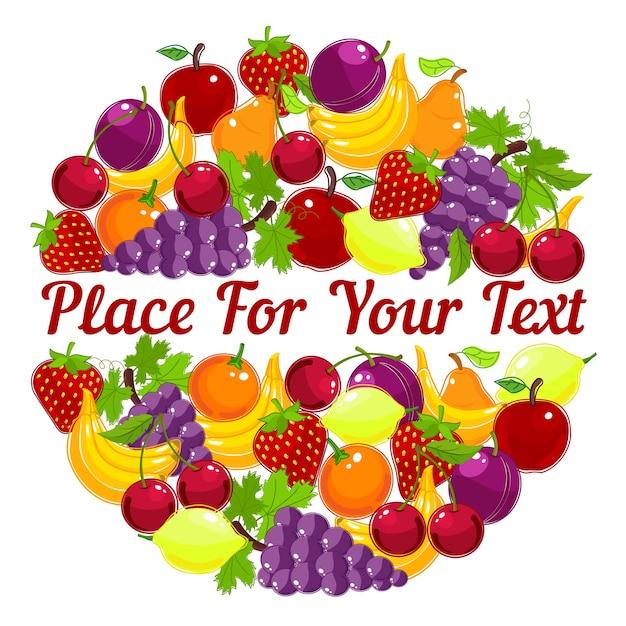 Lebendige gesunde frische früchte in einem kreisförmigen design mit zentralem copyspace Kostenlosen Vektoren