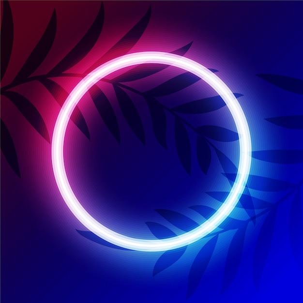 Lebendiger neonkreis-lichtrahmen mit textraum Kostenlosen Vektoren