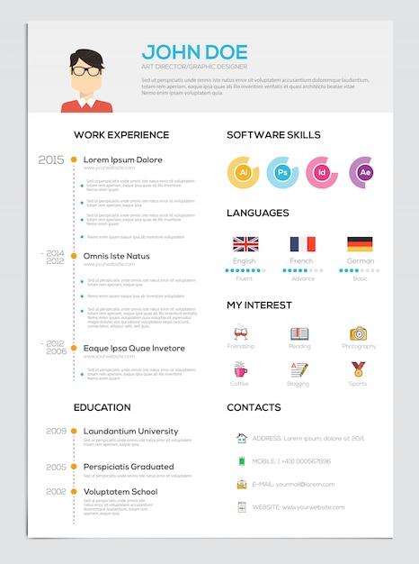 Lebenslauf mit infografiken Premium Vektoren