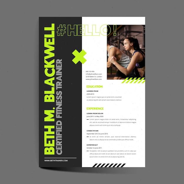 Lebenslauf-vorlage für zertifizierte fitnesstrainer Kostenlosen Vektoren