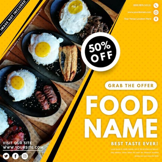 Lebensmittel banner vorlage mit foto Premium Vektoren