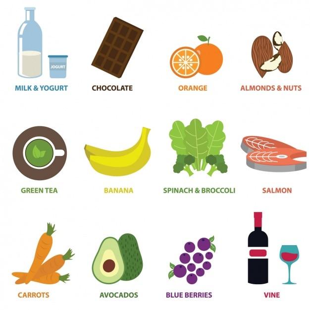 Lebensmittel-elemente-sammlung Kostenlosen Vektoren