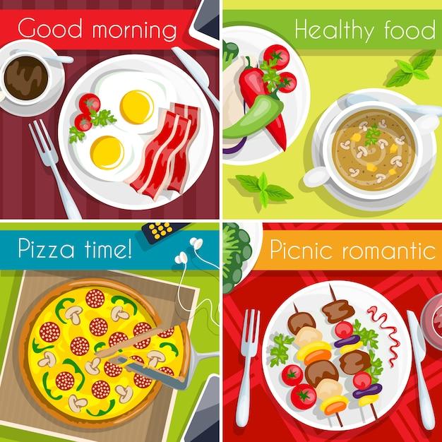 Lebensmittel-icon-set Kostenlosen Vektoren