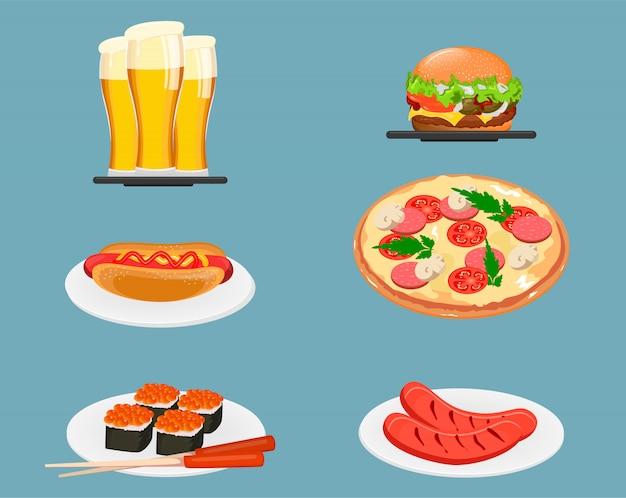 Lebensmittel-icons. bier, cheeseburger, hot dog, pizza, sushi und bratwürste Premium Vektoren