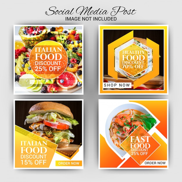 Lebensmittel instagram post Premium Vektoren