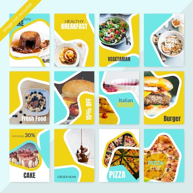 Lebensmittel instagram social media post-vorlage für restaurant Premium Vektoren