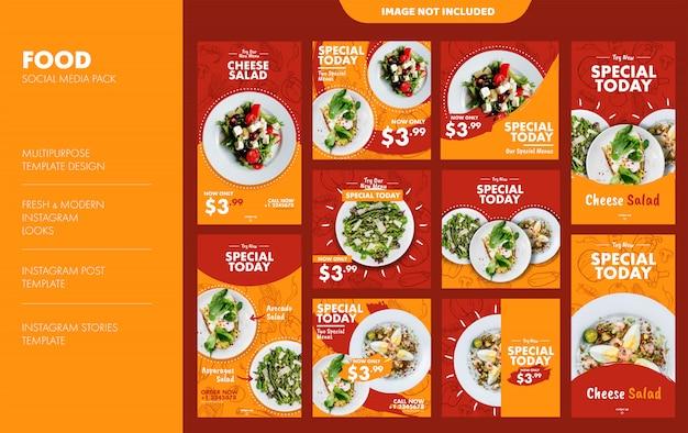 Lebensmittel instagram stories und feed template set Premium Vektoren
