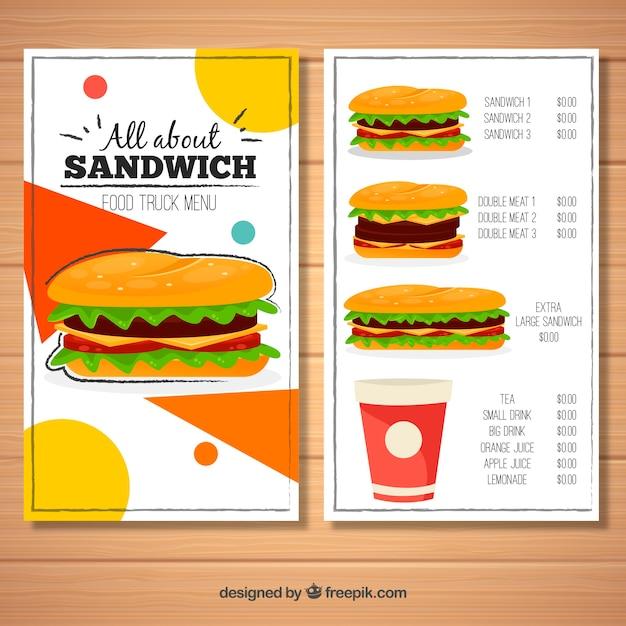 Lebensmittel-lkw-menü mit verschiedenen sandwiches Kostenlosen Vektoren