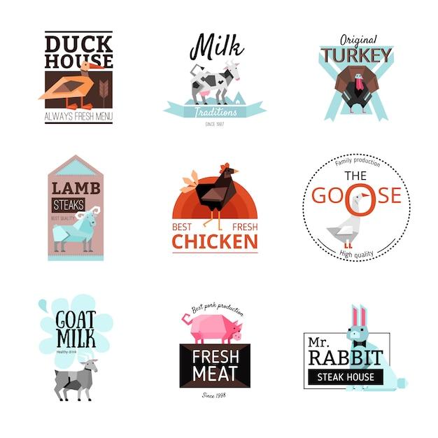 Lebensmittel-logo-set Kostenlosen Vektoren