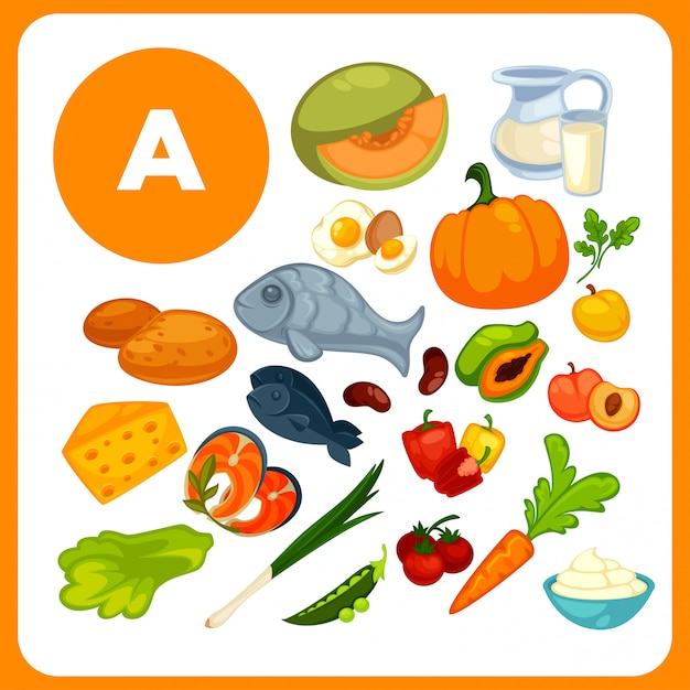 Lebensmittel mit vitamin a. Premium Vektoren
