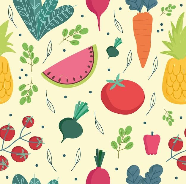 Lebensmittel nahtlose muster frisches gemüse und obst zutaten kochen illustration Premium Vektoren