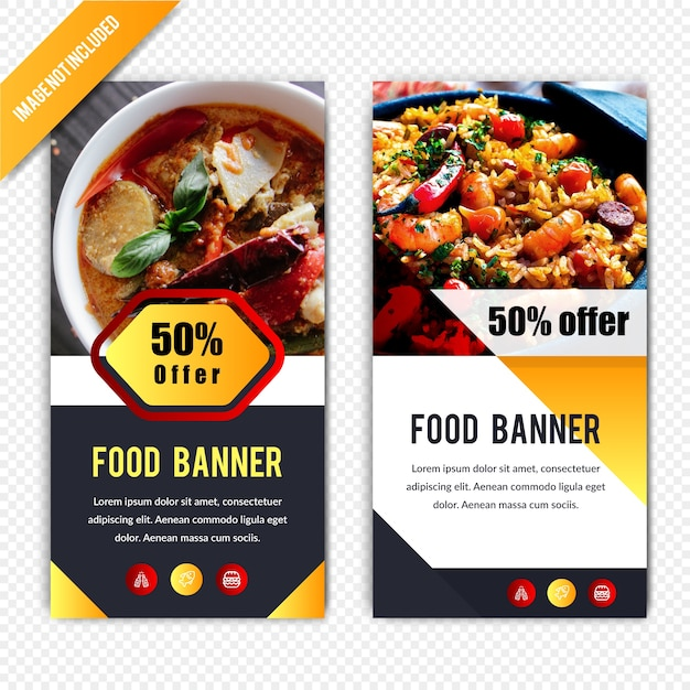 Lebensmittel rabatt horizontale banner design Premium Vektoren