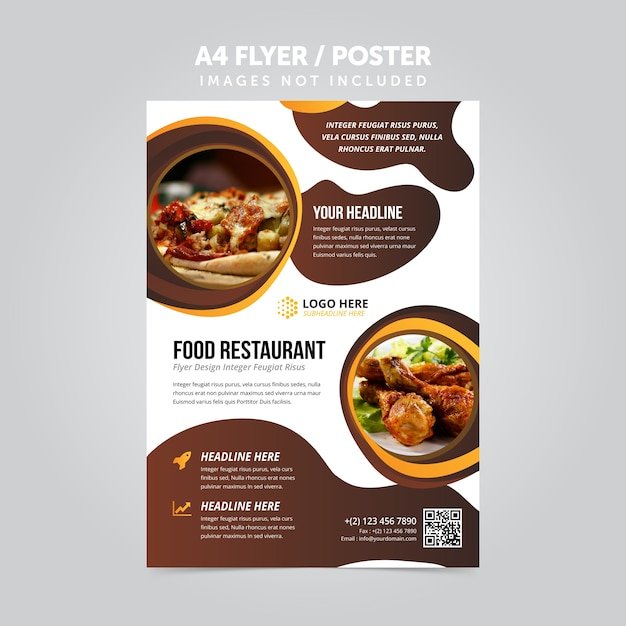 Lebensmittel restaurant business mulripurpose a4 flyer prospekt vorlage Premium Vektoren