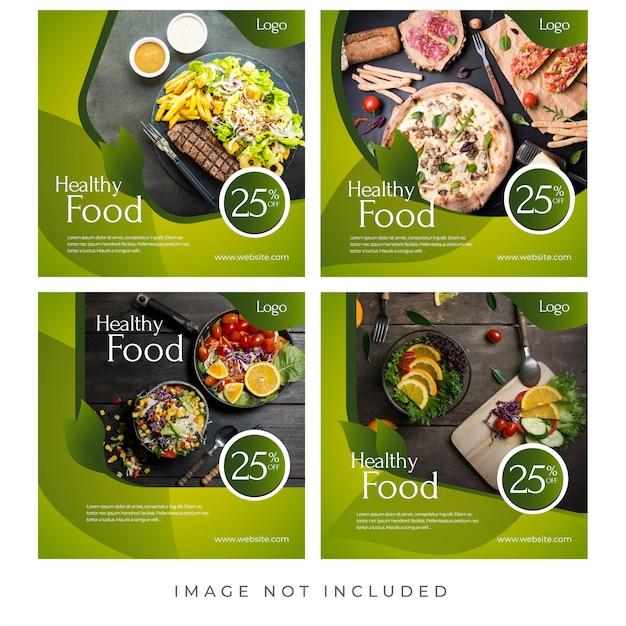 Lebensmittel-restaurant-social media-banner Premium Vektoren