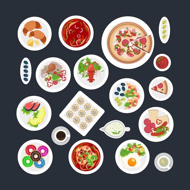 Lebensmittel set draufsicht Kostenlosen Vektoren