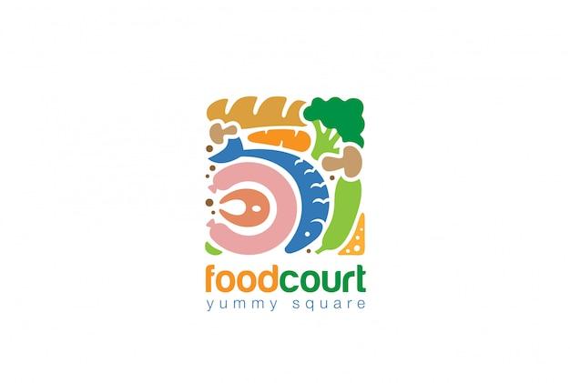 Lebensmittel set square logo flache symbol Kostenlosen Vektoren
