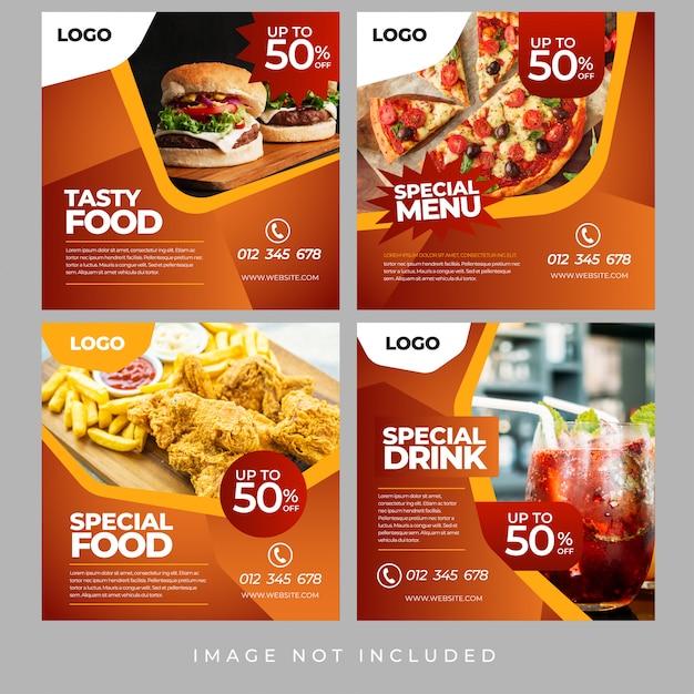 Lebensmittel social media banner Premium Vektoren