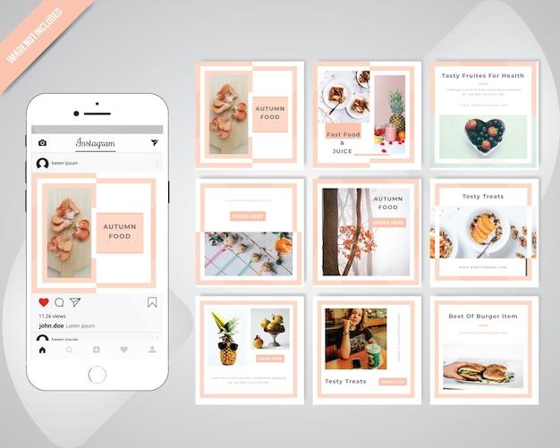 Lebensmittel-social media post-vorlage für restaurant Premium Vektoren