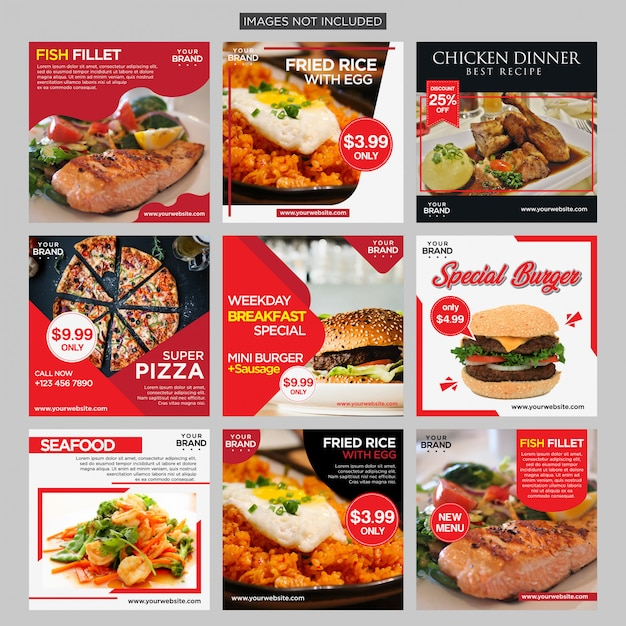 Lebensmittel social media post Premium Vektoren