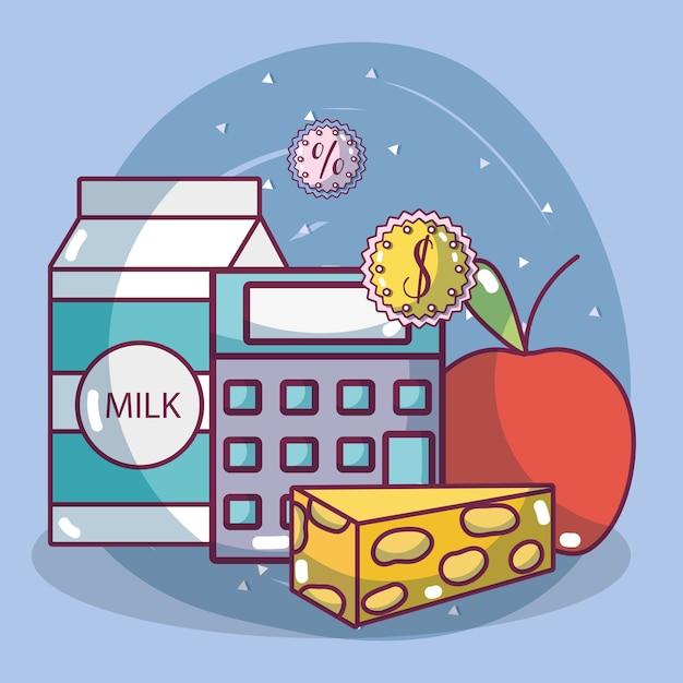 Lebensmittel-supermarkt-produkte Premium Vektoren