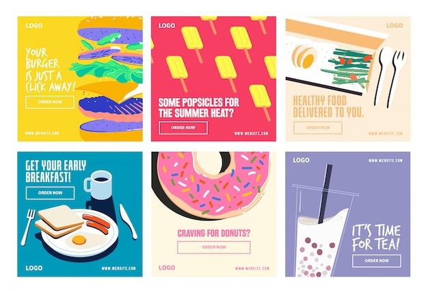 Lebensmittel trinken social media beitragssammlung instagram Premium Vektoren