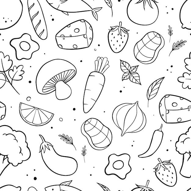 Lebensmittel und gemüse kritzeln nahtloses muster Premium Vektoren