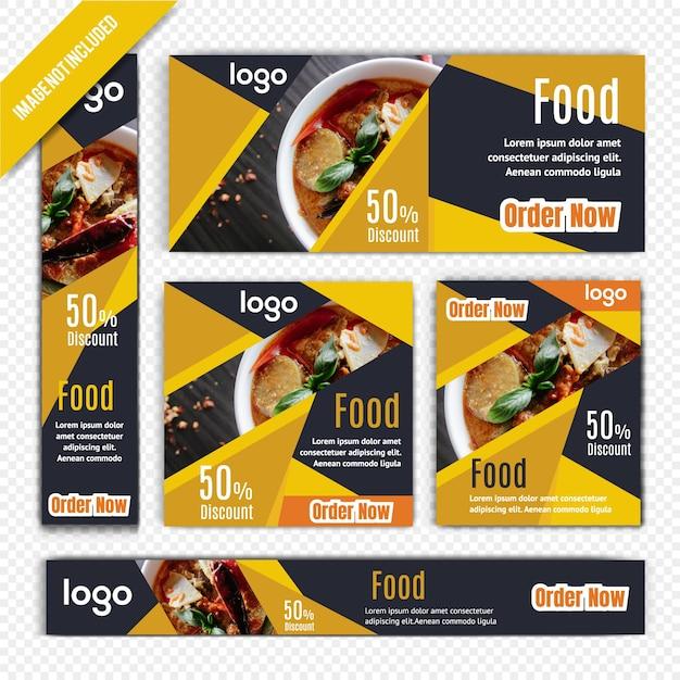 Lebensmittel-web-fahnen-satz für restaurant Premium Vektoren
