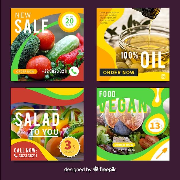 Lebensmittelangebot banner mit foto Kostenlosen Vektoren