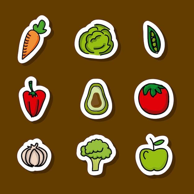Lebensmitteldesign über brauner hintergrundvektorillustration Premium Vektoren