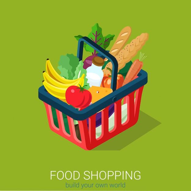 Lebensmitteleinkaufskonzept. einkaufswagen voller lebensmittel isometrisch. Kostenlosen Vektoren