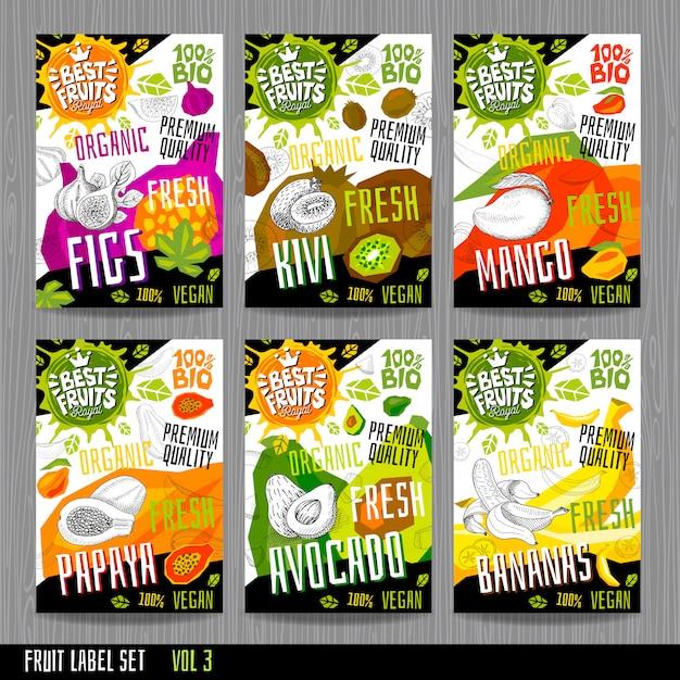 Lebensmitteletikettenaufkleber setzen bunte skizzenartfrüchte, gewürzgemüse-verpackungsdesign. Premium Vektoren