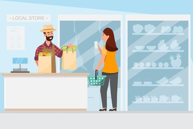 Lebensmittelgeschäft des einzelhandelsgeschäftskonzept speichert vom lokalen bauernhof Premium Vektoren