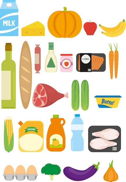 Lebensmittelgeschäft lebensmittel aus dem supermarkt Premium Vektoren