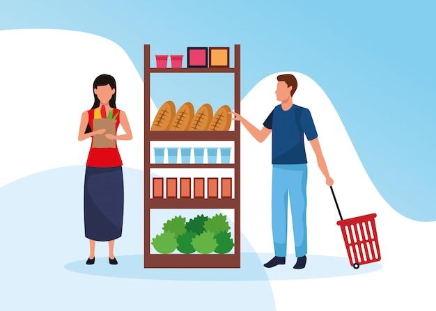 Lebensmittelgeschäfte mit personencharakteren Premium Vektoren
